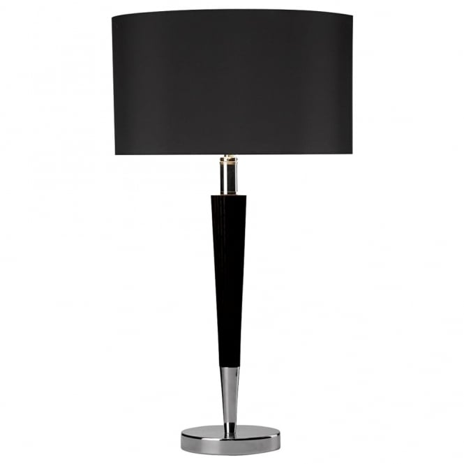 Dar Lighting Viking Table Light in Black and Polished Chrome with Black Shade
