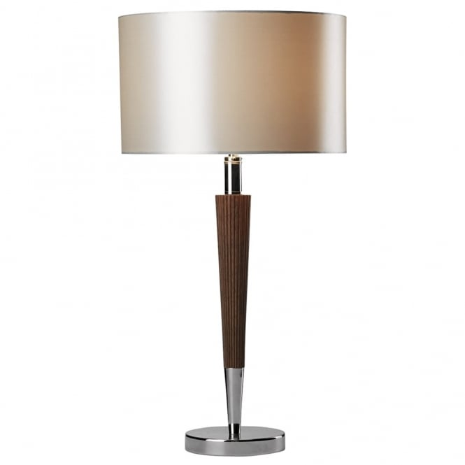 Dar Lighting Viking Table Light in Dark Wood and Polished Chrome with Cream Shade