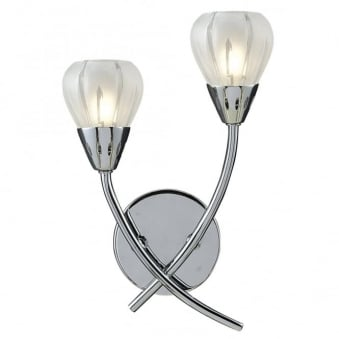 Villa Double Wall Light in Polished Chrome