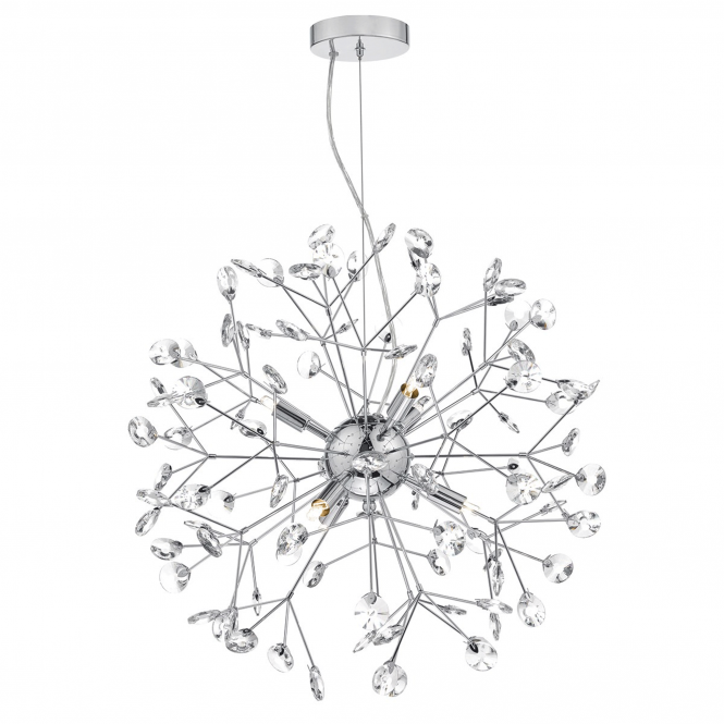 Dar Lighting Vivien Six Light Sputnik Pendant in Polished Chrome and Crystal Glass