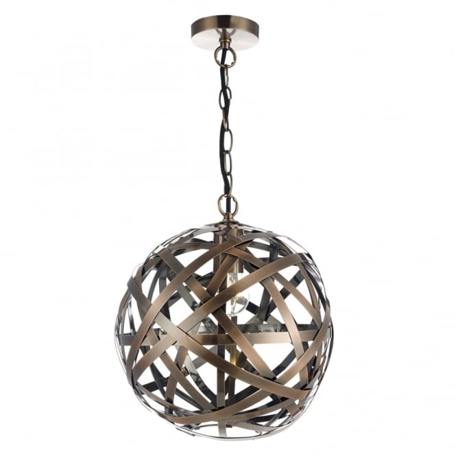 Dar Lighting Voyage Ball Pendant with Woven Antique Copper Bands
