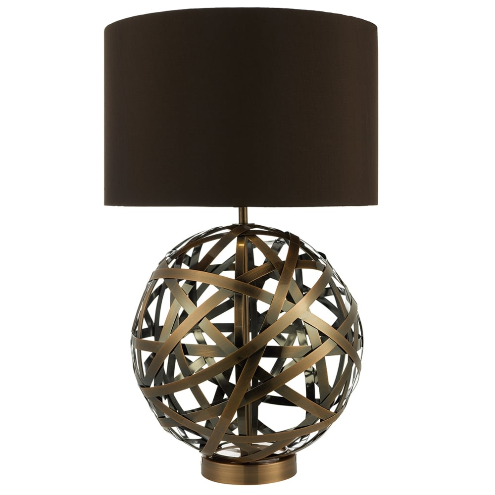 Dar lighting voyage table lamp with woven antique copper bands voyage table lamp with woven antique copper bands aloadofball Images