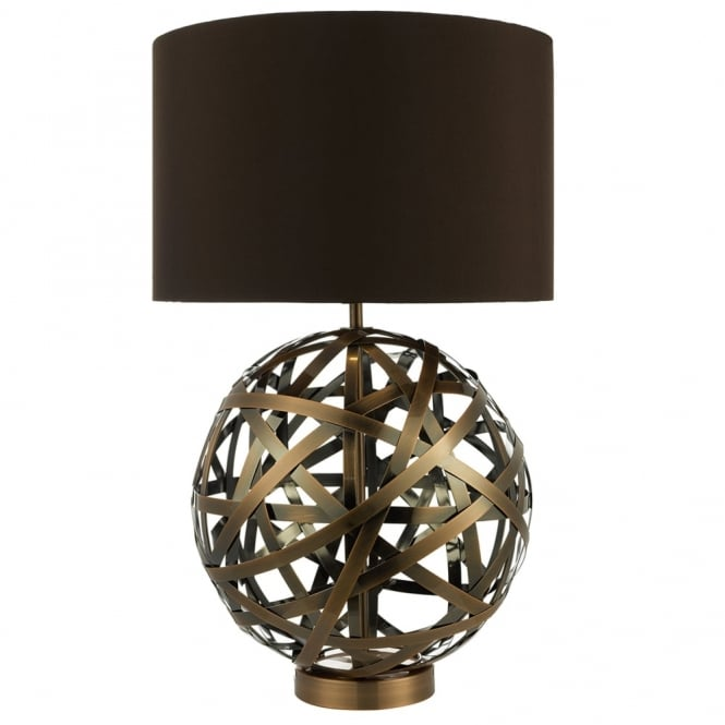 Dar Lighting Voyage Table Lamp with Woven Antique Copper Bands