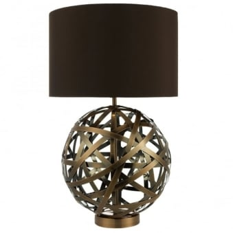 Voyage Table Lamp with Woven Antique Copper Bands