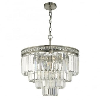 Vyana Tiered Crystal Pendant in Soft Brushed Nickel