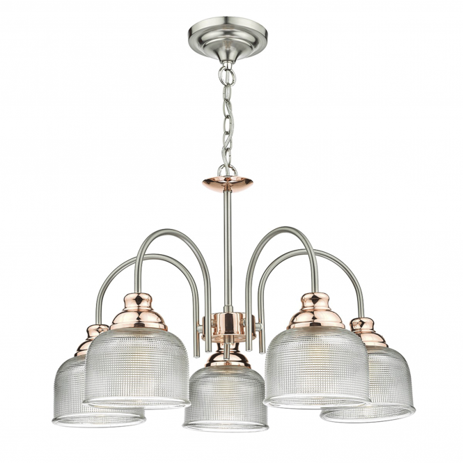 Dar Lighting Wharfdale Five Light Satin Chrome Pendant