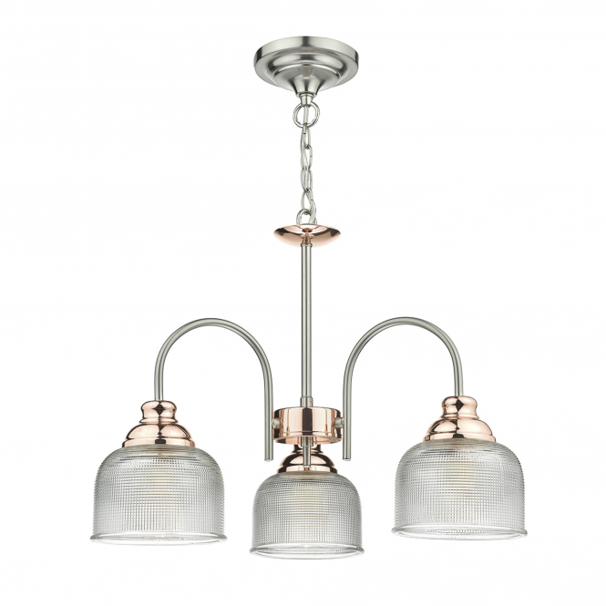 Dar Lighting Wharfdale Three Light Satin Chrome Pendant