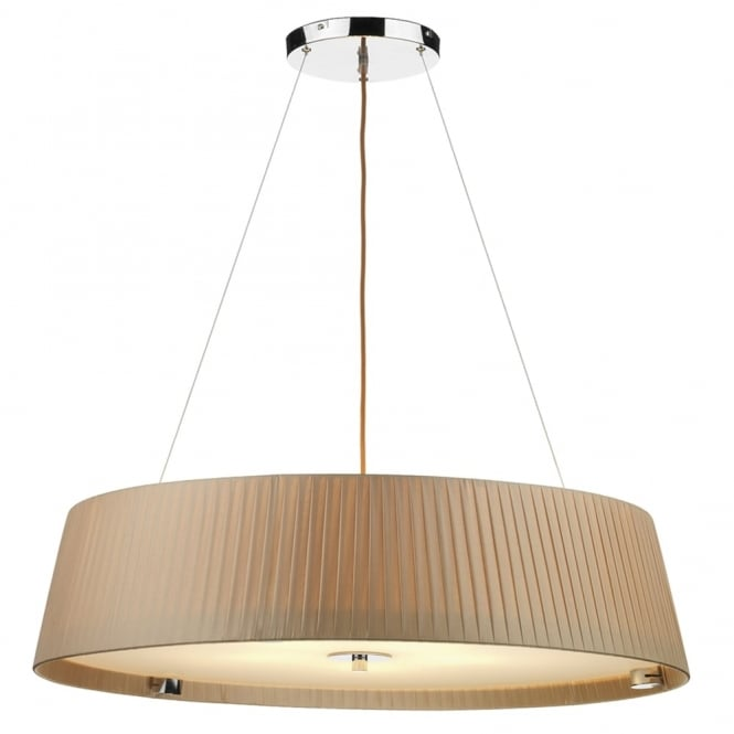 Dar Lighting Wheel Five Light Ribbon Wrapped Pendant in Taupe