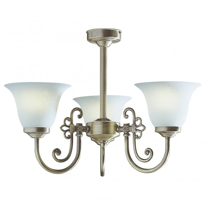 Dar Lighting Woodstock Triple Light Semi Flush Fitting in Antique Brass