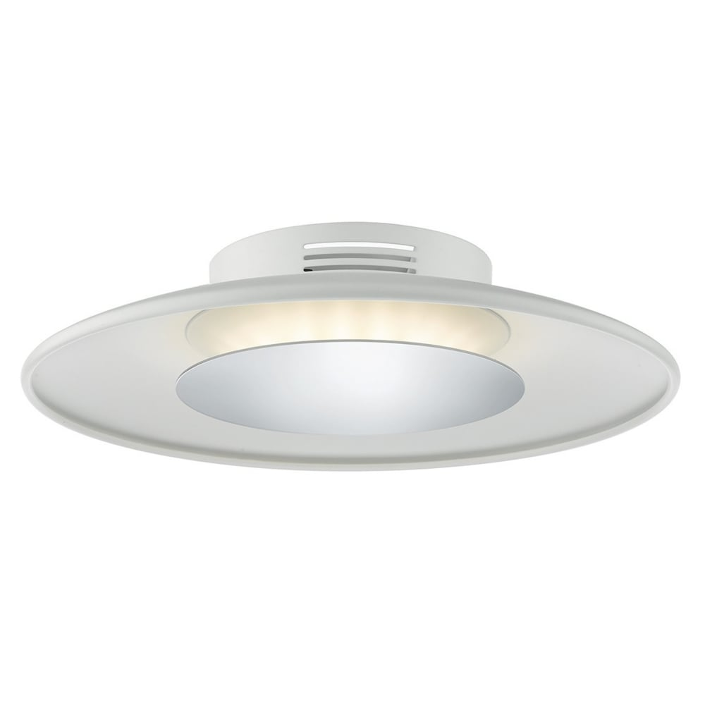 Worcester led small ceiling flush in white and polished chrome