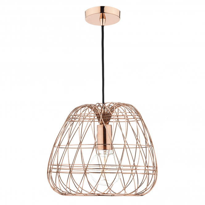 Dar Lighting Woven Copper Cage Pendant