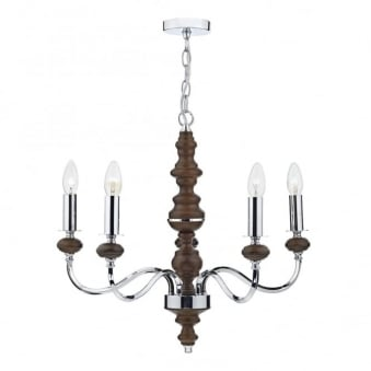 Wyatt 5 Light Pendant in Polished Chrome and Dark Wood