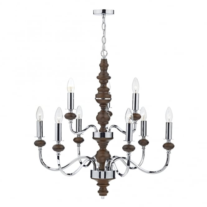 Dar Lighting Wyatt 9 Light Pendant in Polished Chrome and Dark Wood