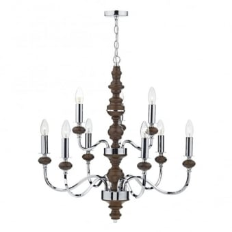 Wyatt 9 Light Pendant in Polished Chrome and Dark Wood