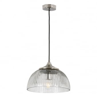 Yambol Pendant in Polished Nickel and Ribbed Glass