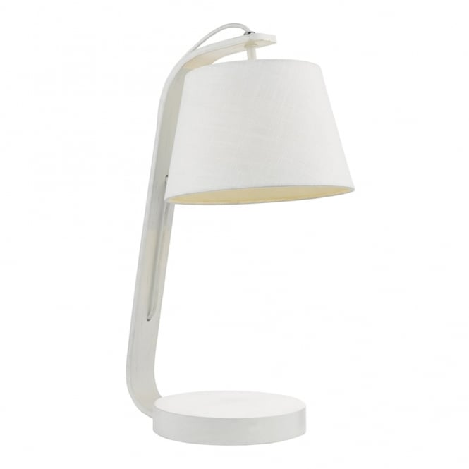 Dar Lighting Zakara Table Lamp in White with a Linen Shade