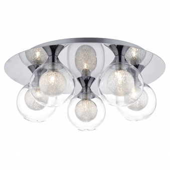 Zeke Five Light Flush in Polished Chrome and Spun Glass