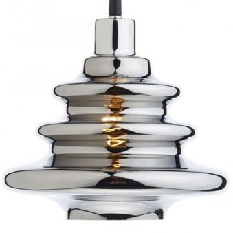 Zephyr Easy Fit Pendant Shade Rippled Silver Glass