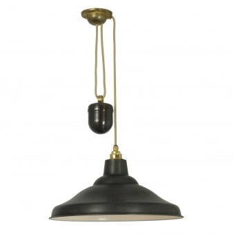 Rise and Fall School Light in Blackened Copper with White Interior