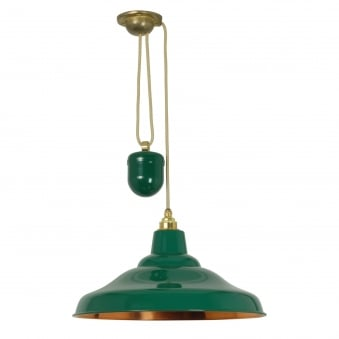 Rise and Fall School Light in Green with Polished Copper Interior