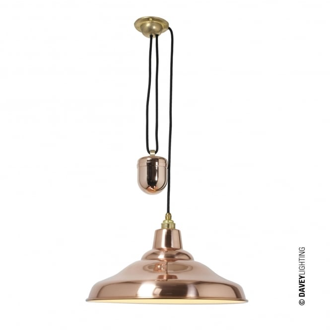 Davey Lighting Rise and Fall School Light in Polished Copper