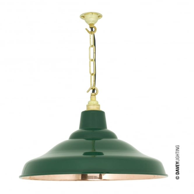 Davey Lighting School Pendant Light in Green with Polished Copper Interior