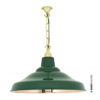 School Pendant Light in Green with Polished Copper Interior