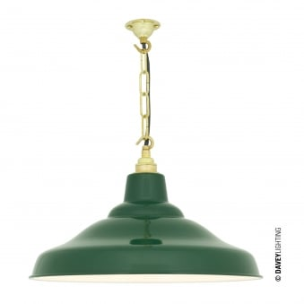 School Pendant Light in Green with White Interior