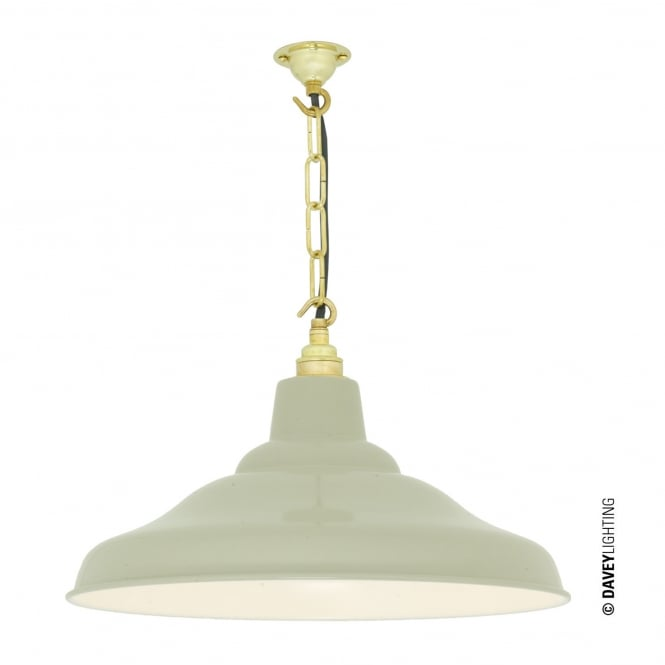 Davey Lighting School Pendant Light in Putty Grey with White Interior