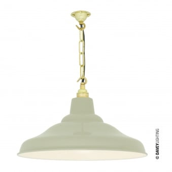 School Pendant Light in Putty Grey with White Interior