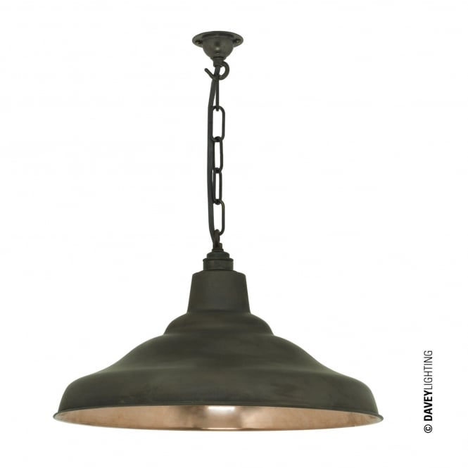 Davey Lighting School Pendant Light in Weathered Copper with Polished Interior