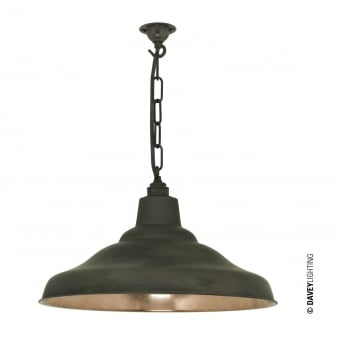 School Pendant Light in Weathered Copper with Polished Interior