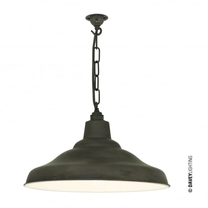 Davey Lighting School Pendant Light in Weathered Copper with White Interior