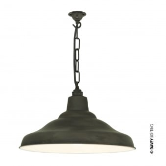 School Pendant Light in Weathered Copper with White Interior