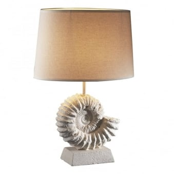 Ammonite Table Lamp in Stone