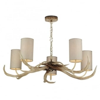 Antler Bleached Five Light Pendant with Cream Shades