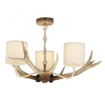 Antler Bleached Three Light Pendant with Cream Shades