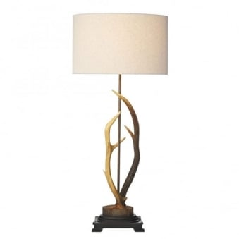 Antler Table Lamp with Cream Fabric Shade