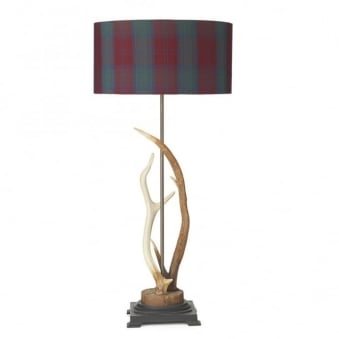 Antler Table Lamp with Tartan Silk Shade