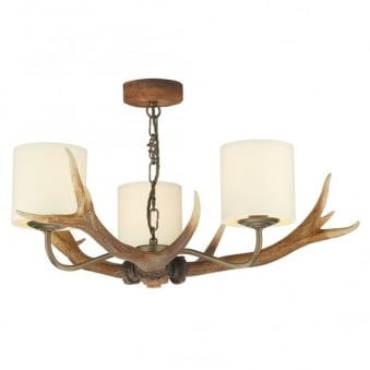Antler Three Light Pendant with Cream Fabric Shades