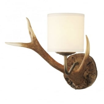 Antler Wall Light with Cream Fabric Shade