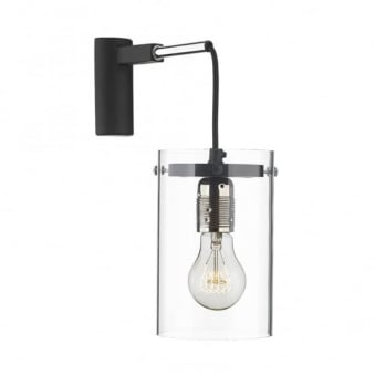 Cincinnati Black Cable & Clear Shade Wall Light
