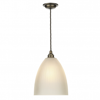 Duxford Antique Brass Pendant with Satin Reeded Glass