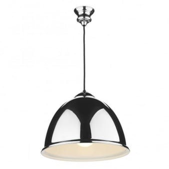 Euston Pendant in Polished Chrome with a Black Cable