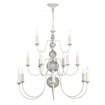 Flemish 15 Light Pendant in Powder Grey