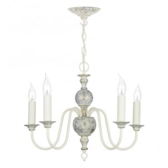 Flemish 5 Light Pendant in Powder Grey