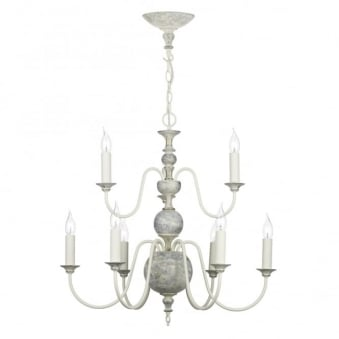 Flemish 9 Light Pendant in Powder Grey