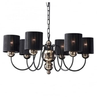 Garbo 6 Light Bronze Pendant with Black String Shades