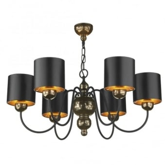 Garbo 6 Light Bronze Pendant with Bronze Lined Black Shades