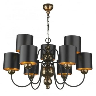 Garbo 9 Light Bronze Pendant with Bronze Lined Black Shades